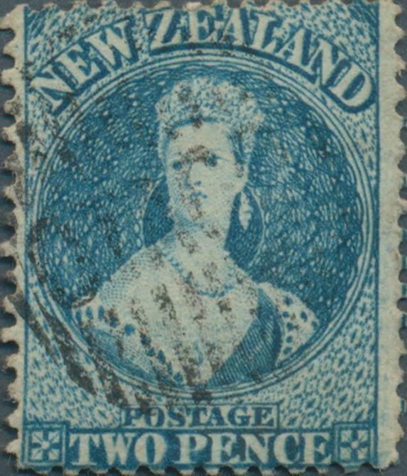 New_Zealand_1863_SG96a_QV_Chalon_2p_Genuine