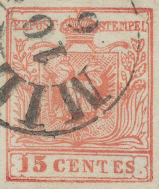 Lombardy-and-Venetia_1850_Coat-of-Arms_15c_Milan_Postal_Forgery.Type_II
