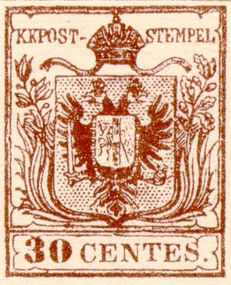 Lombardy-and-Venetia_1850_Coat-of-Arms_30c_Fournier_Forgery