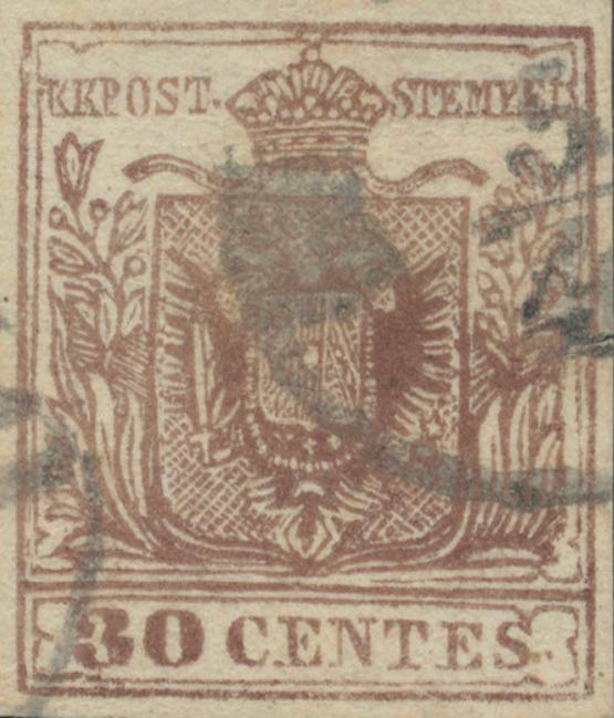 Lombardy-and-Venetia_1857_Coat-of-Arms_30c_Milan_Postal_Forgery.Type_II