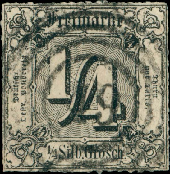 Thurn_und_Taxis_1865_Mi35_1-4Sgr_Genuine