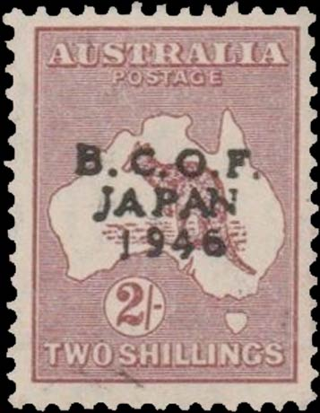 Australia_1946_Kangaroo_2sh_BCOF-Japan_Forgery