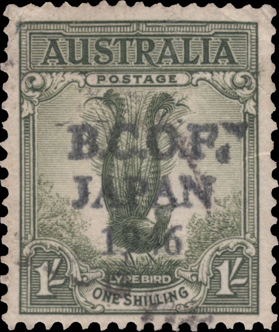 australia_1946_lyrebird_1sh_bcof-japan_forgery