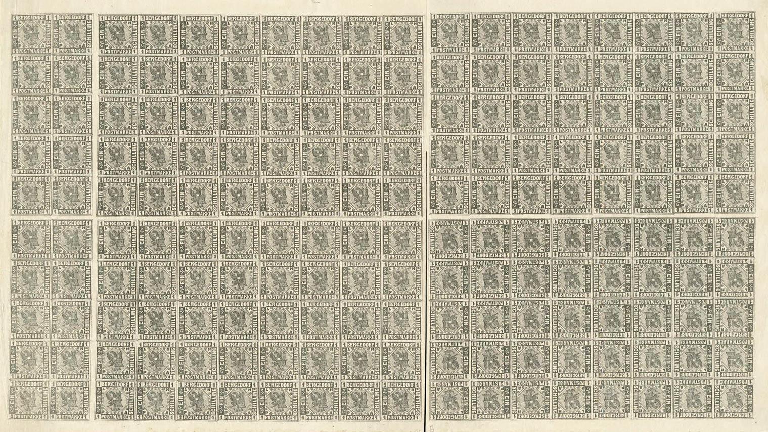 Bergedorf_1861_1sch_Sheet_Genuine