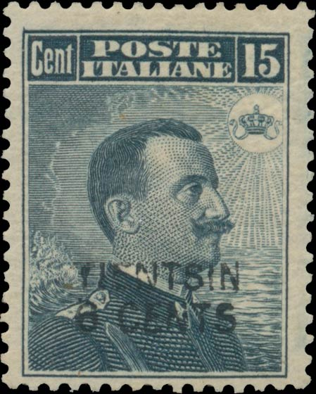 Italy_Offices_in_China_1917_15c_Surcharged-TIENTSIN-6-CENTS_Genuine