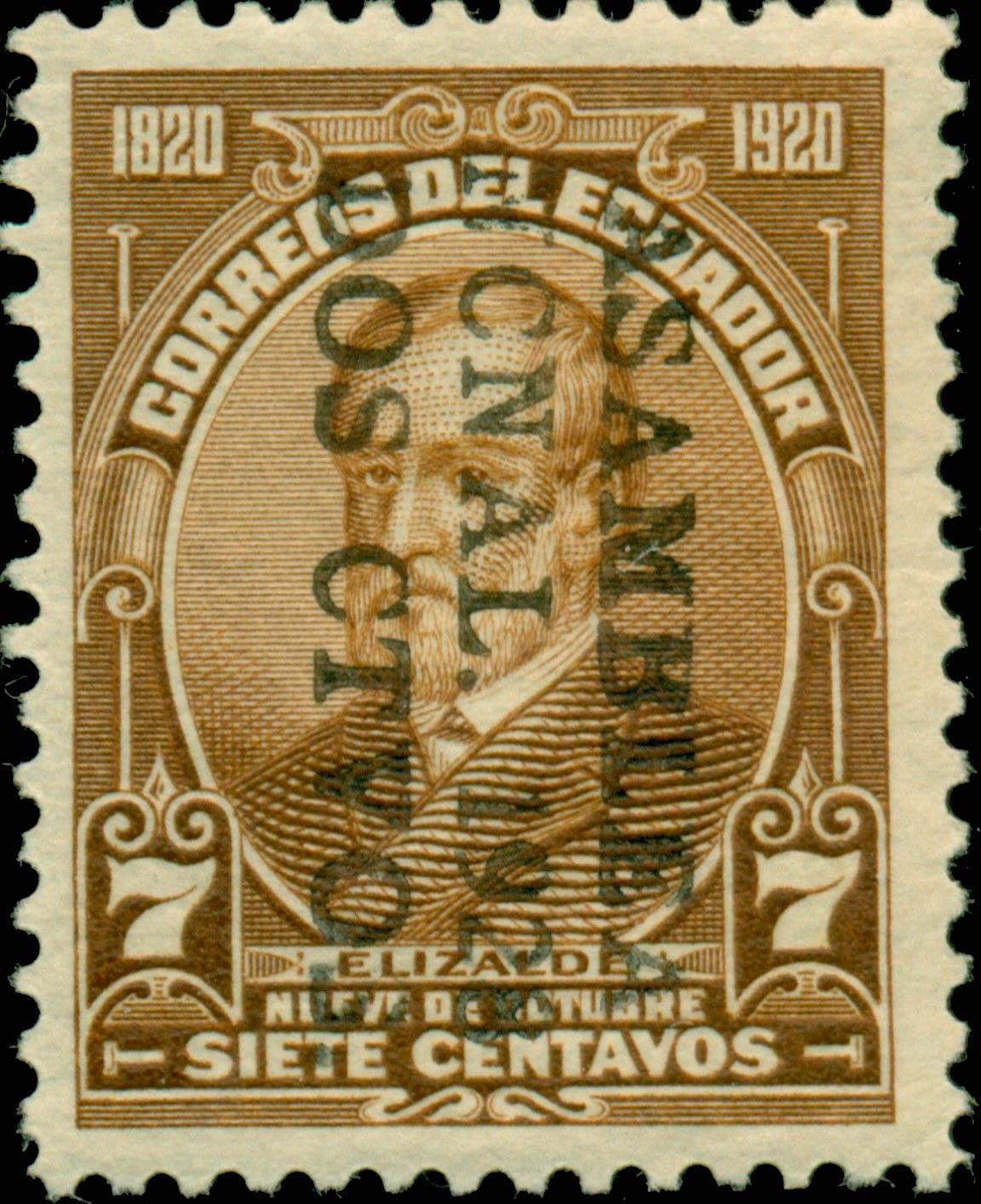 Ecuador_1920_Elizalde_7c_Sc282_Surcharged_Forgery