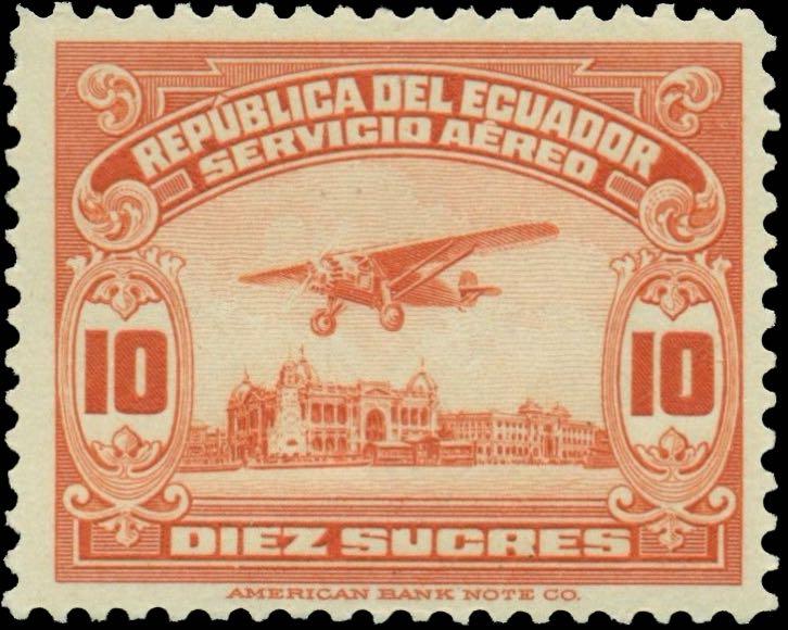 Ecuador_1929_Airmail_10s_Genuine