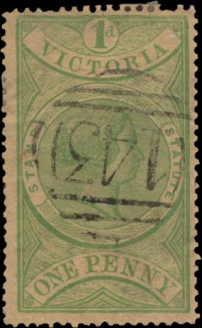 Victoria_QV_1d_Green_Forged_postmark