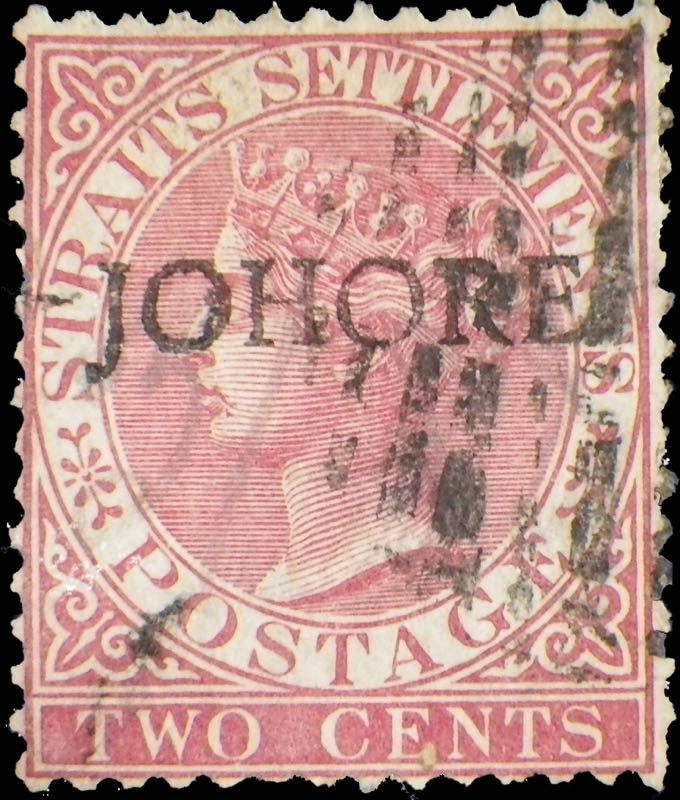 Johore_1884_QV_2c_Surcharged_Forgery