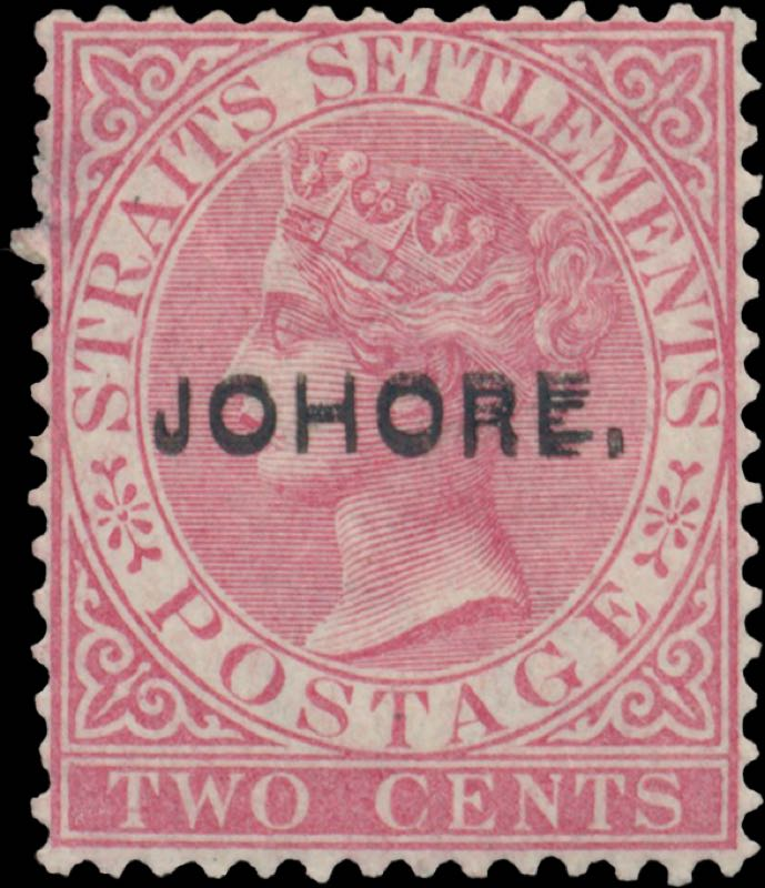 Johore_1884_QV_2c_Surcharged_double_type6_Genuine