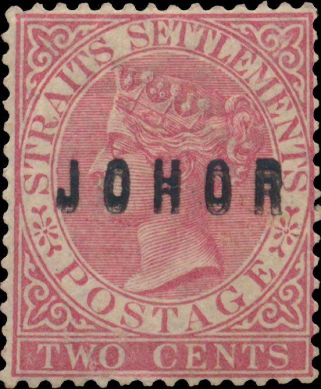 Johore_1884_QV_2c_Surcharged_double_type9_Genuine