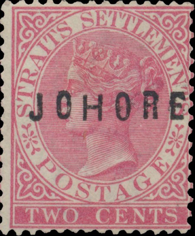 Johore_1884_QV_2c_Surcharged_type4_Genuine