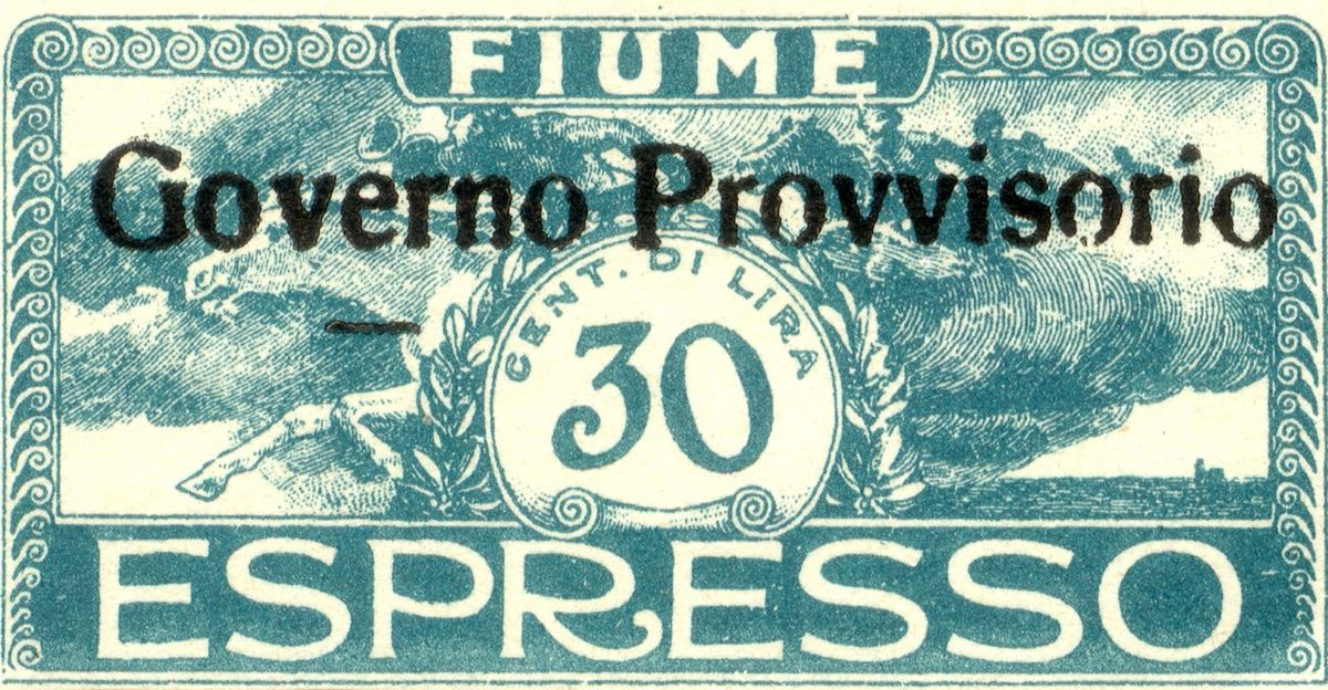 fiume_1921_special_delivery_surcharged_governo_provvisorio_30_forgery_type1