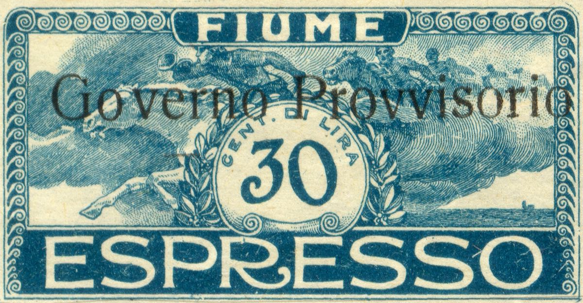 fiume_1921_special_delivery_surcharged_governo_provvisorio_30_genuine