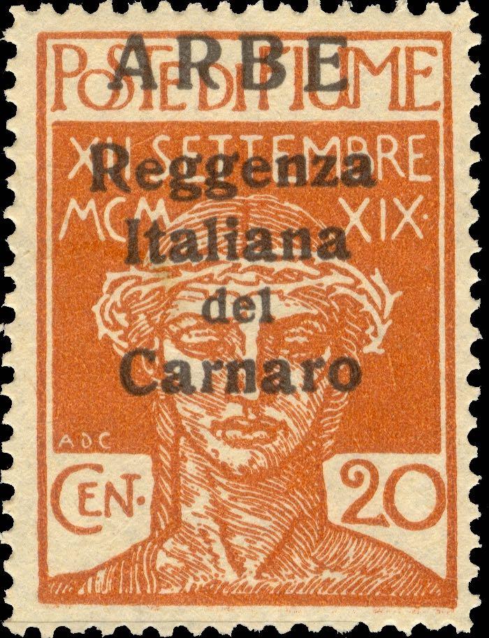 fiume_military_post_reggenza_italiana_20c_arbe_overprint_forgery_type_2