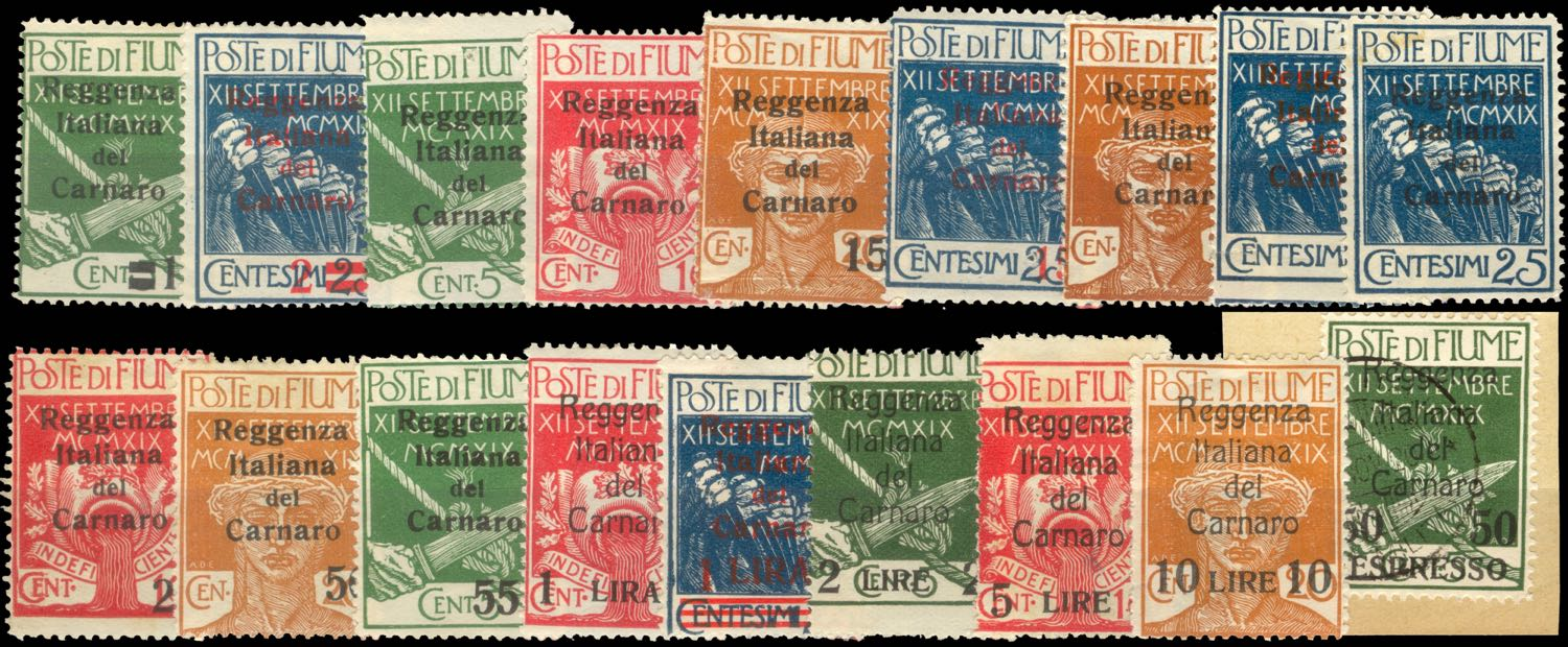 fiume_military_post_reggenza_italiana_overprint_forgery_series