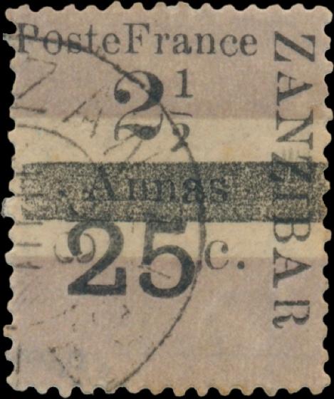 Zanzibar_French_Post_1897_25c-2.5c_Genuine