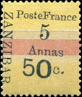 Zanzibar_French_Post_1897_50c-5c_Forgery1