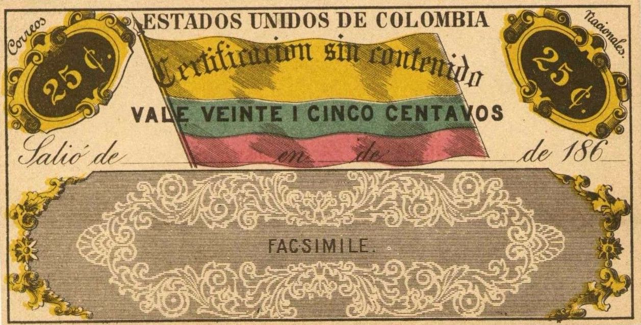Colombia_1865_Cubiertas_25c_Senf_Forgery