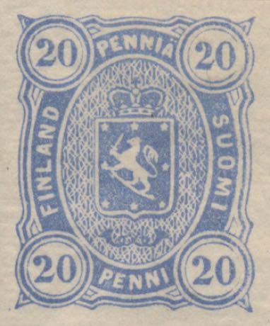 Finland_1875_20pf_Unperforated_Genuine