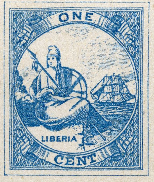 Liberia_1880_Allegory_1cent_Fournier_Forgery