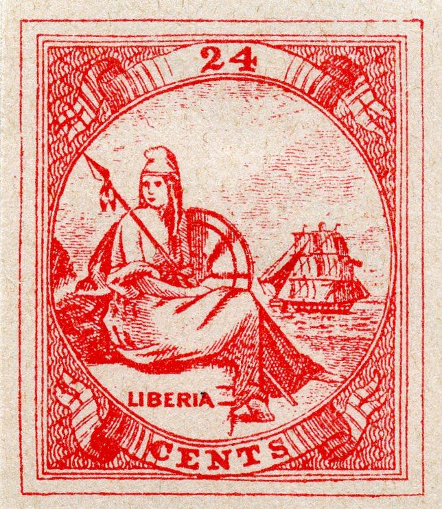 Liberia_1880_Allegory_24cent_Fournier_Forgery