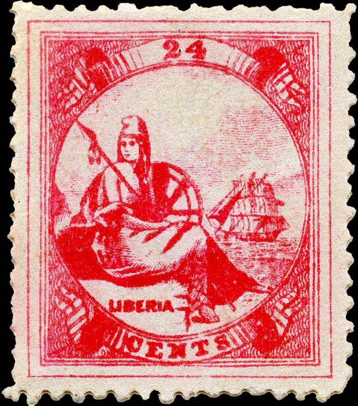 Liberia_1880_Allegory_24cent_Genuine