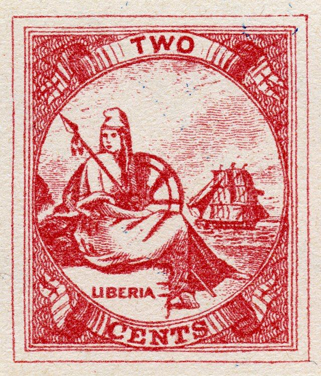 Liberia_1880_Allegory_2cent_Fournier_Forgery