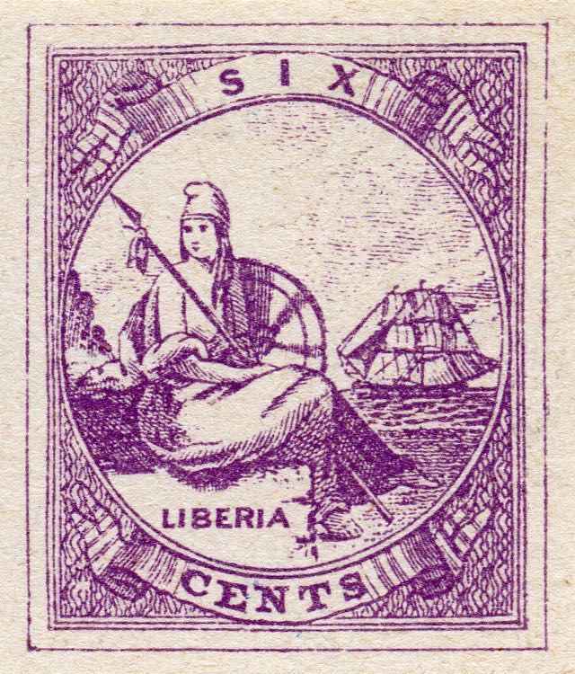 Liberia_1880_Allegory_6cent_Fournier_Forgery