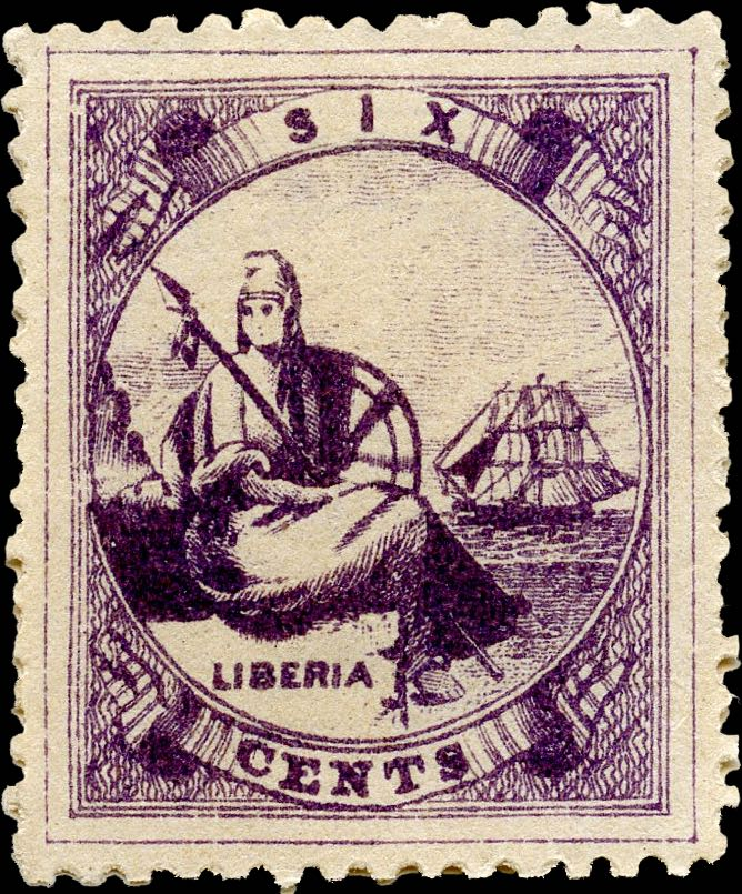Liberia_1880_Allegory_6cent_Genuine