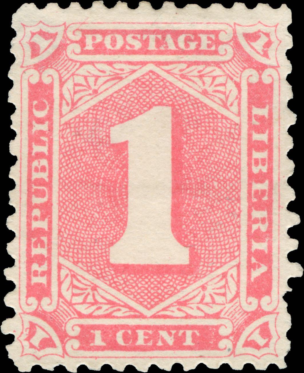 Liberia_1885-92_Numeral_1c_Genuine