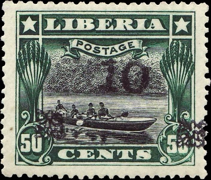 Liberia_1915-16_Provisional_10c-on-50c_black_Forgery