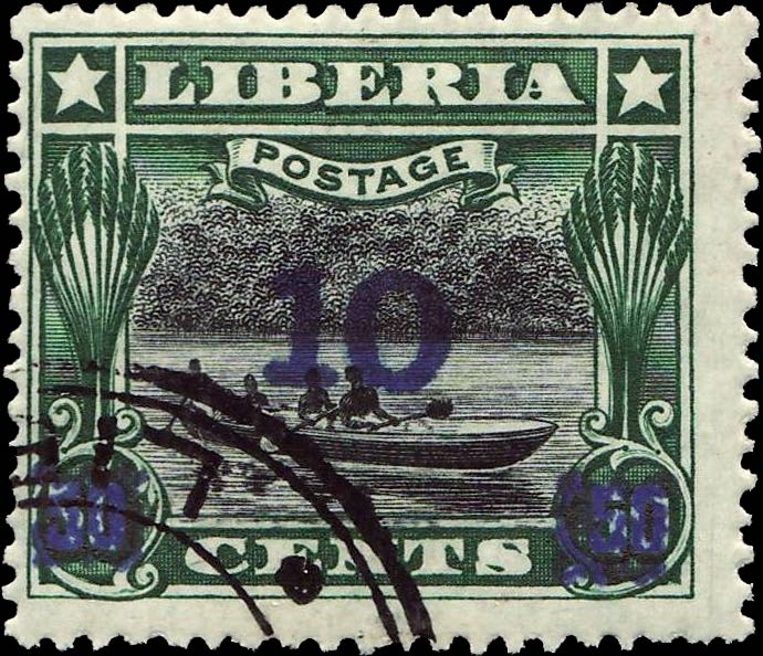 Liberia_1915-16_Provisional_10c-on-50c_blue_Forgery