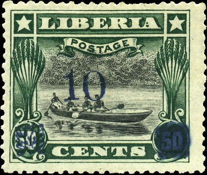 Liberia_1915-16_Provisional_10c-on-50c_blue_Genuine