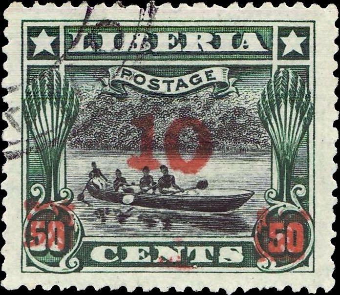 Liberia_1915-16_Provisional_10c-on-50c_red_Forgery