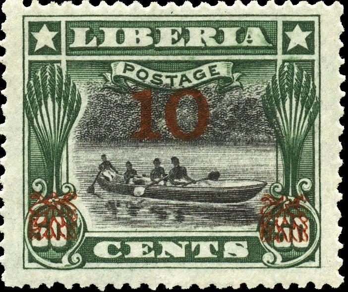Liberia_1915-16_Provisional_10c-on-50c_red_Genuine
