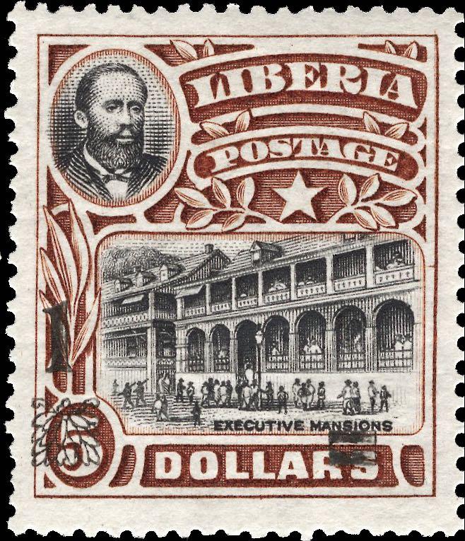 Liberia_1915-16_Provisional_1dollar-on5dollars_Genuine
