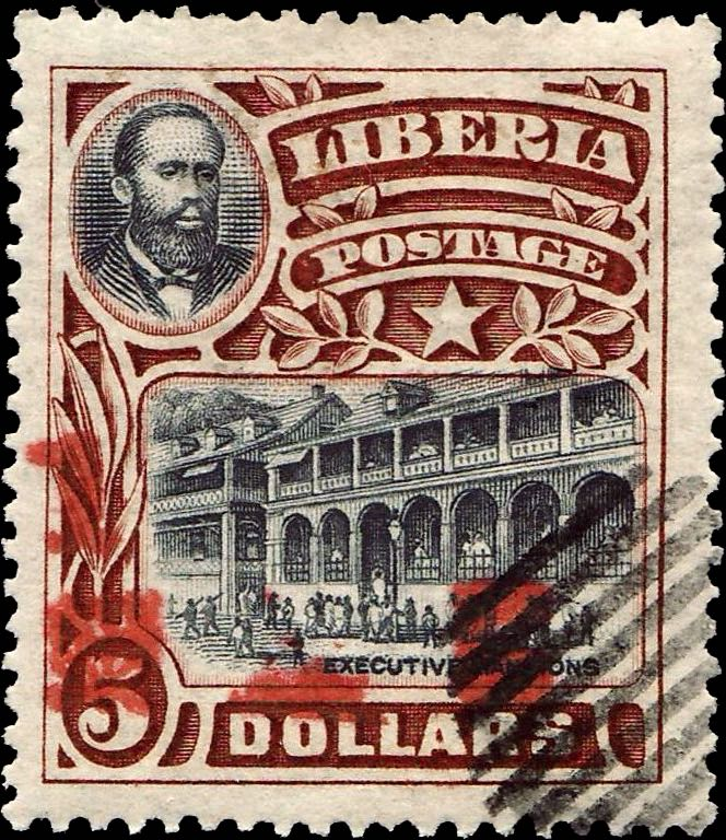 Liberia_1915-16_Provisional_1dollar-on5dollars_red_Forgery