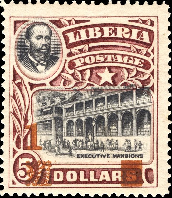 Liberia_1915-16_Provisional_1dollar-on5dollars_red_Genuine