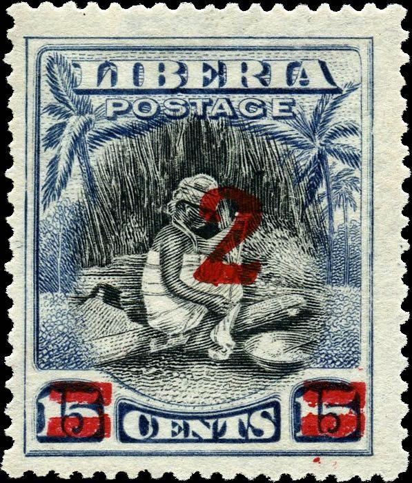 Liberia_1915-16_Provisional_2c-on-15c_red_Genuine