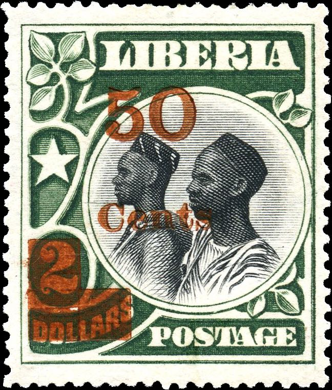 Liberia_1915-16_Provisional_50c-on2dollars_Genuine