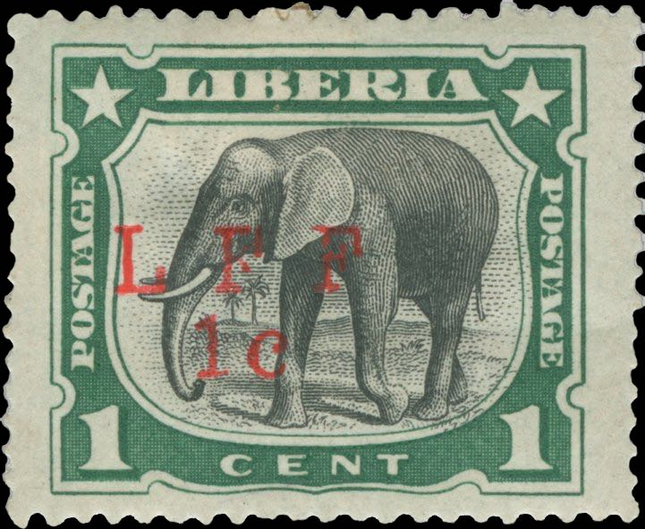 Liberia_1916_Elephant_1c_LFF_overprint_Forgery1