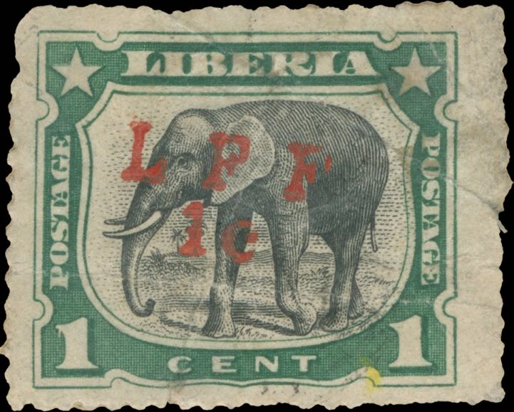 Liberia_1916_Elephant_1c_LFF_overprint_Forgery2
