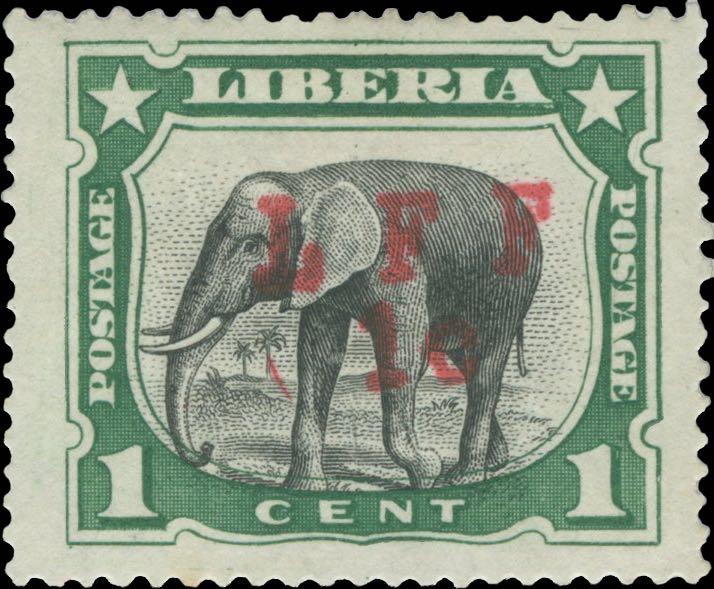 Liberia_1916_Elephant_1c_LFF_overprint_Forgery3