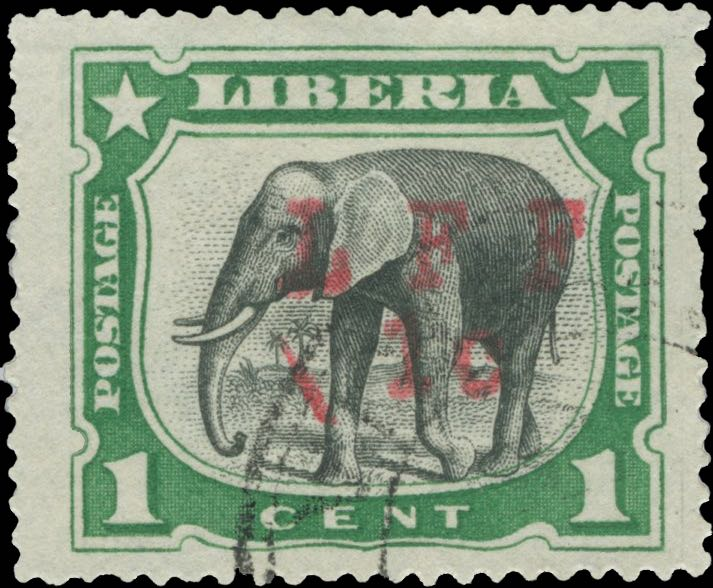 Liberia_1916_Elephant_1c_LFF_overprint_Forgery5