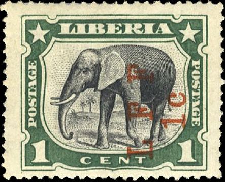 Liberia_1916_Elephant_1c_LFF_overprint_Genuine