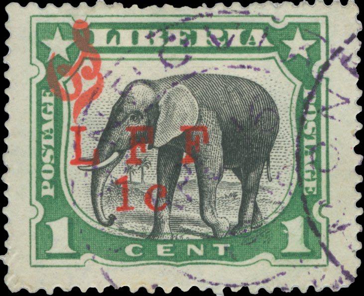 Liberia_1916_M5_Elephant_1c_LFF_overprint_Forgery1