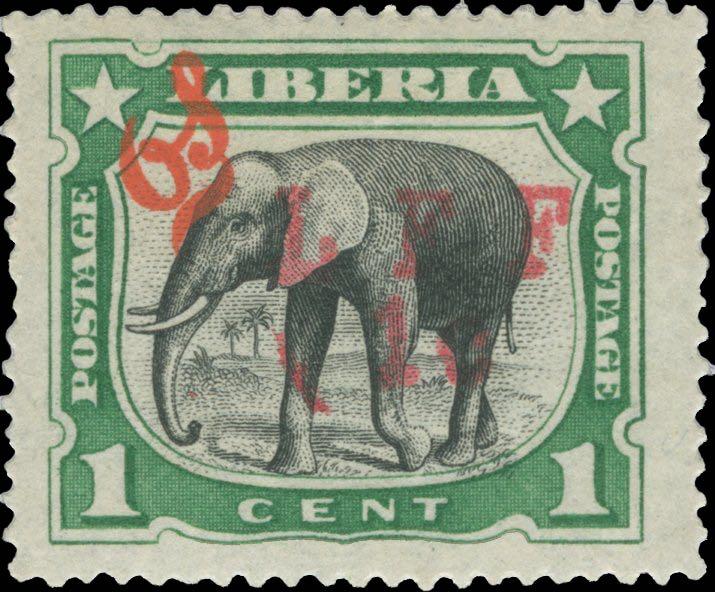 Liberia_1916_M5_Elephant_1c_LFF_overprint_Forgery2