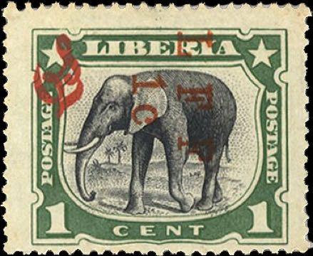 Liberia_1916_M5_Elephant_1c_LFF_overprint_Genuine
