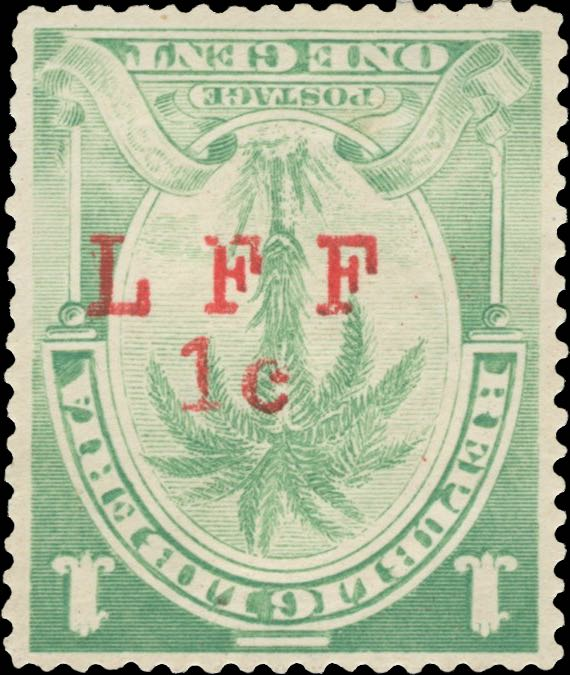 Liberia_1916_Palm_1c_LFF_overprint_Forgery1